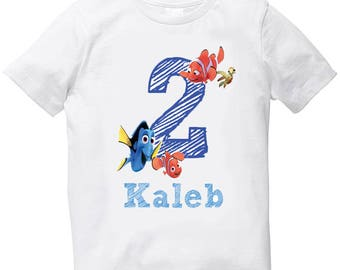 Finding Nemo birthday boy t shirt with name and year digit