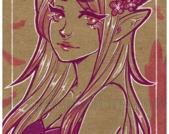 Pink Angel - ORIGINAL ink drawing