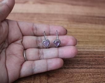 Silver and Amethyst Earrings, Amethyst Heart Earrings, Amethyst Pierced Earrings, Silver Heart Earrings, Vintage Silver Earrings, Vintage