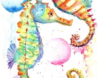 seahorse original watercolor, seahorses paintings, rainbow seahorses, kauai fine art, original watercolors,  ocean life under the sea