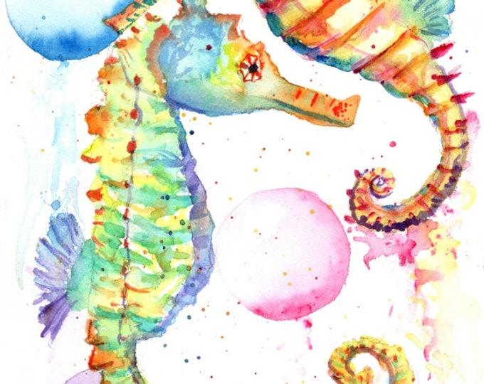 seahorse original watercolor, seahorses paintings, nursery art, kids art, baby's room,  original watercolors,  ocean life under the sea