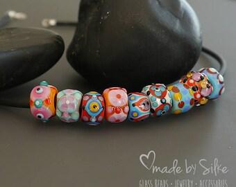 Handmade lampwork  beads  |  BHB   | Big Hole Beads  | European Charm |  Orphans  | Wild Mix No. 1  | SRA  |  artisan glass | Silke Buechler