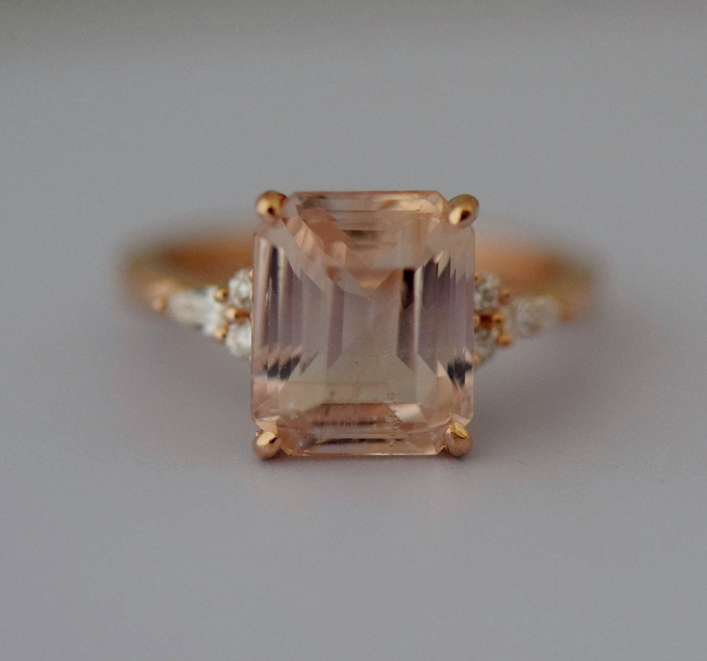 Engagement ring rose gold engagement ring peach champagne sapphire engagement ring rose gold engagement ring peach champagne sapphire ring campari ring emerald cut diamond ring 494ct ring by eidelprecious junglespirit Images