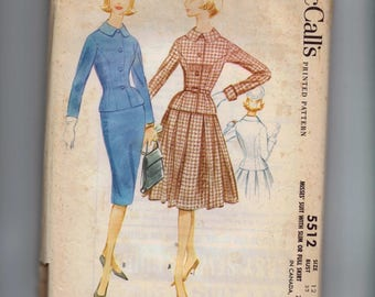 1960s Vintage Sewing Pattern McCalls 5512 Misses Suit Fitted Jacket Full Slim Skirt New Look Size 12 Bust 32  60s 1960 UNCUT