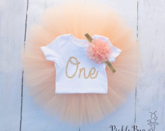 Peach First Birthday Outfit Girl, Baby Tutu Dress, Baby Romper, Baby Headband, Tulle Skirt, 1st Birthday Outfit Girl, Cake Smash Outfit Girl