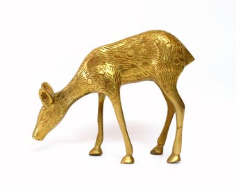 Brass Grazing Doe Deer Figurine