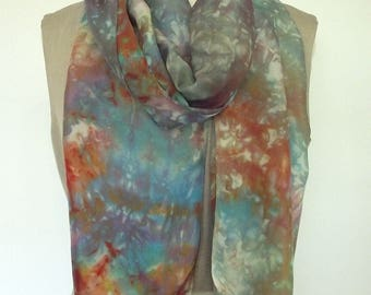 """Hand Dyed Shibori Silk Scarf, Blue, Turquoise, Brown, Gold, Neutral Colors, 14x72"""""""