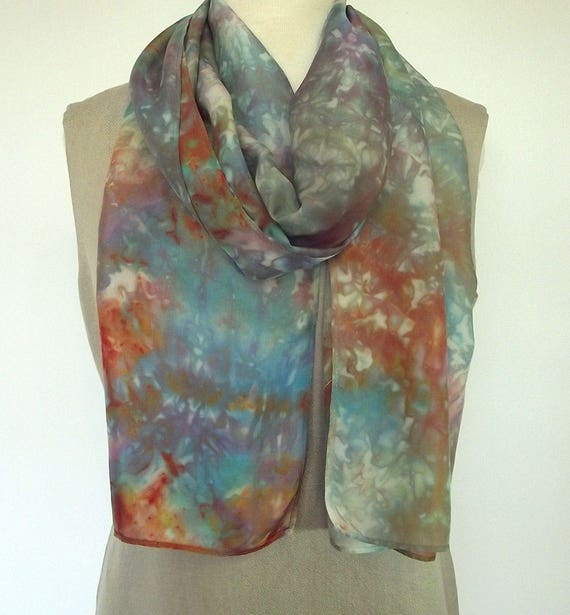 Hand Dyed Shibori Silk Scarf, Blue, Turquoise, Brown, Gold, Neutral Colors, 14x72""