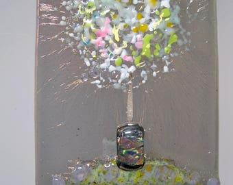 Handmade fused glass night light- Frit Bouquet, nite lite, night light, local, maker, lighting, art, hand crafted, gift, san francisco