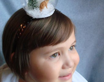 Snowglobe Headband Fox Headband Hair Accessory Snow Holiday Hair Band Fascinator Christmas Tree Snow Winter Headband Girls Gift Snowflake