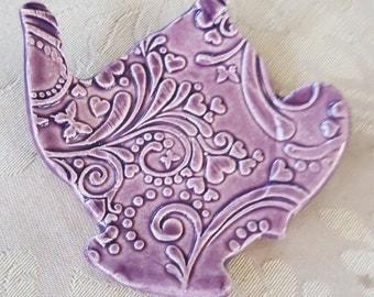 Handmade Ceramic Teabag Dish, Ring Dish, Tidbid dish, Trinket Dish, Votive tray