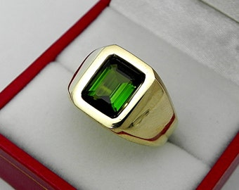 AAAA Chrome Tourmaline 9x7mm  2.14 Carats   Heavy 14K Yellow gold Emerald cut Mans or GENTS ring 15-16 grams 1719