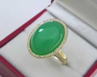 AAAA Chrysoprase 18 x 13mm  11.87 Carats   14K Yellow gold Diamond halo cabochon ring. 1506