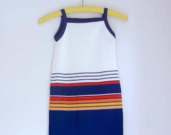 Vintage girls dress striped summer tank dress 5t