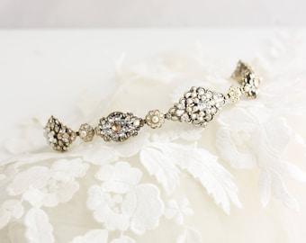 Bridal Tiara Headband Antique Gold Bridal Hair Accessory Swarovski Golden Shadow Crystal Pearl Vintage Wedding Tiara Champagne Crystal CARA