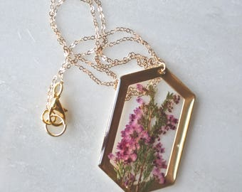 Pink Heather Pressed Flower Necklace, Botanical Jewelry, Pressed Heather