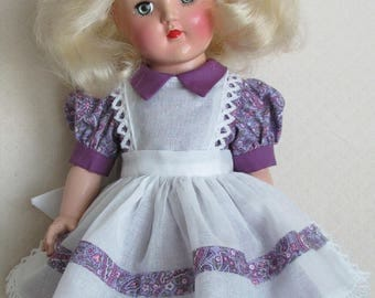 "For 14"" P-90 Ideal Toni Doll - Pinafore Dress Inspired by Original in Plum"