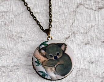 Koala Locket Necklace, Koala Bear Necklace, Woodland Jewelry