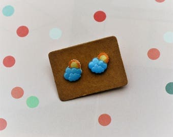 Sun and Cloud Earrings, Teeny Tiny Earrings, Cloud Jewelry, Cute Earrings