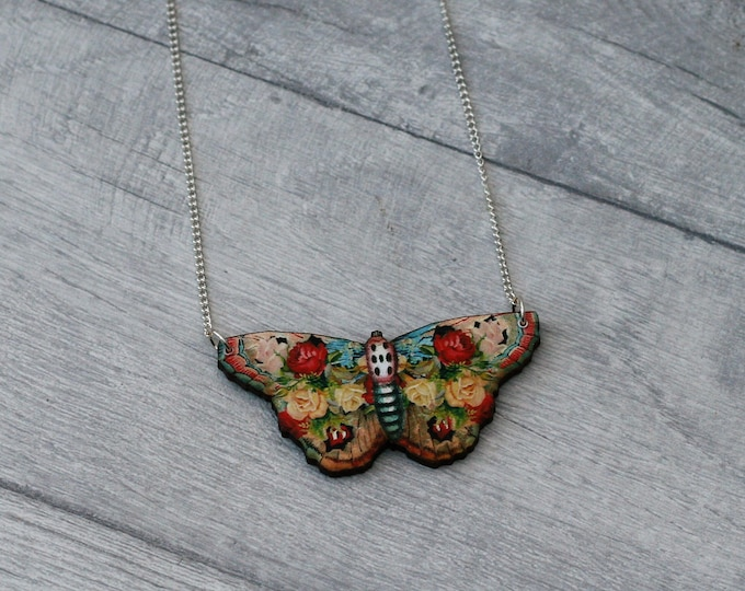 Floral Butterfly Necklace, Flower Butterfly, Wooden Butterfly, Illustration Pendant, Animal Necklace, Wood Jewelry