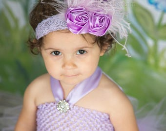 Lavender Baby Headband,Infant Headband,Newborn Headband,Lavender Headband,Shabby Chic Headband Lavender Headband,Purple Headband,Feathers