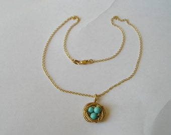 18K Gold Filled Birds Nest With Turquoise Eggs Pendant Necklace