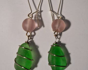 artisan made earrings with green sea glass from Del Mar, CA