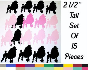French Poodle Die Cuts 2.5 Inch Tall Set of 15 DIY Craft Supply Embellishment