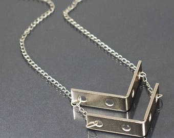 Industrial Hardware Necklace- Contemporary Jewelry, Modern Geometric Necklace, Chevron Necklace, L Bracket Necklace, Hardware Jewelry