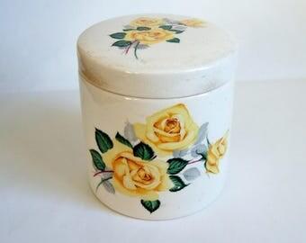 Yellow Rose Storage Jar - 1950s Vintage English Marmalade China Pot with Lid
