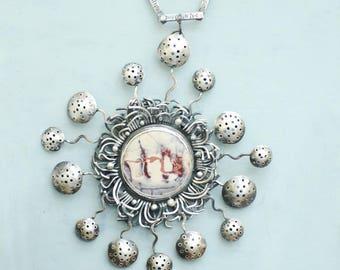 Exotica Jasper Statement Necklace, Sterling Silver Artisan Wearable Art, Bold Sculpture Design, Sci Fi Porcelain Jasper, Natural White Stone