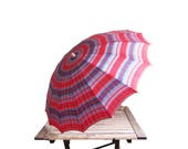 Vintage Plaid Umbrella - Lucite Plastic Handle - 1940s Nylon Red Blue Plaid Parasol - Scottish Tartan Woodland Wedding - Photo Prop Rain