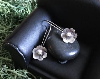 Flowers of Silver Earrings * Features a Hammered Argentium Sterling Handmade Flower * Simple Classic Timeless and Elegant * A Perfecr Gify
