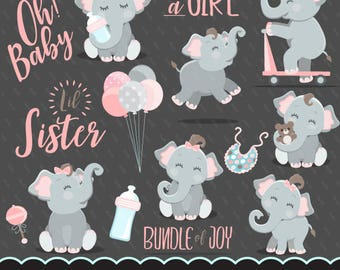 Cute elephant, baby shower clipart, baby shower lettering it's a boy, little sister, illustration, planner stickers, scrapbooking, character