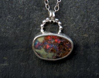 Australian opal necklace / boulder opal jewelry / rainbow opal / October birthstone / boulder opal pendant / Australian opal / ready to ship