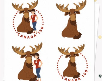 Canada Day 150 celebration graphics with woman and moose, made to order avatar design in your character choice (LMR01)