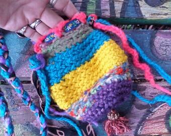 Crochet pouch, Hippie pouch, medicine bag, E02, crochet pouch necklace, medicine bag neckace, hippie festival,  festival bag, hippie crochet