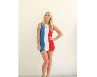 1960s Sailor Stripe Micro Mini Dress /// Size  Extra Small