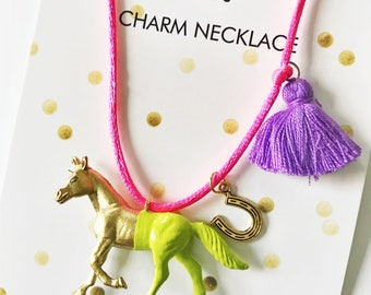 Girls Necklace. Horse Necklace. Kids Horse Necklace. Kids Necklace. Girl Horse Necklace. Horse Jewelry. Girl Jewelry. Horse Lover Gift.