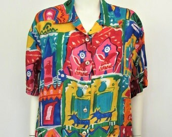 Vintage 1980's Rainbow Colors on Silk, Woman's 80's Big-Shirt or Top, OSFA, L or XL