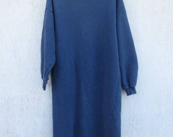 VINTAGE 80's Laura Ashley Long Sweatshirt Dress RARE! Winter Dress Maxi Kaftan Bohemian Tunic