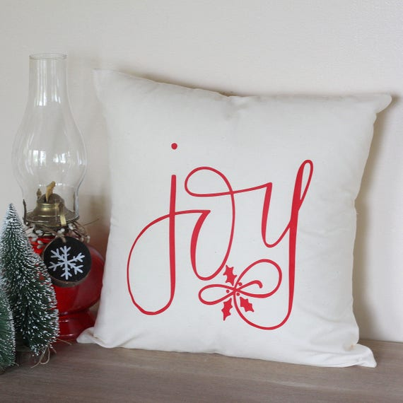 Christmas Pillow Joy Farmhouse Country Style Couch Home Decor Pillow Holly Santa Baby Hand Lettered 16 x16 Handwritten