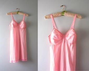 Vintage Pink Bra Slip   1960s Pink Padded Bra Slip S