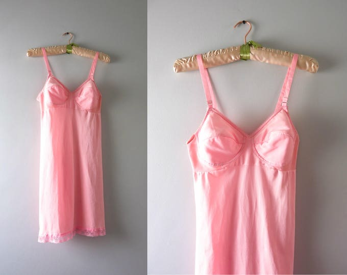 Vintage Pink Bra Slip | 1960s Pink Padded Bra Slip S
