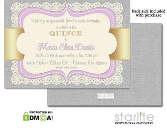 Lavender Gold Quinceañera Invitation | 15 Años Invitation | Quince Party Invitation | Burlap Vintage Lace | Printable Quinceanera Invite