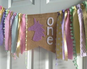 Unicorn theme high chair fabric banner Birthday banner garland fabric garland photo prop purple pink unicorn one burlap banner Party decor