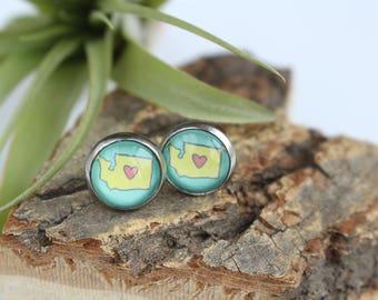 Washington Heart Illustrated Earrings | ATL-E-WAH