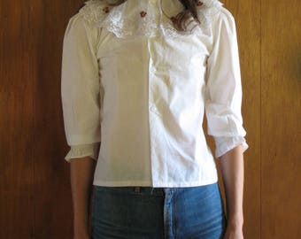 WHITE floral button up blouse, xxs, xs