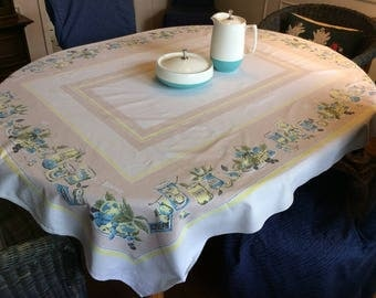 Vintage Tablecloth Canning Time Plates of Fruit Jars of Herbs