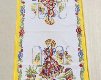 Vintage Mexican Towel Pretty Señorita in a Sombrero
